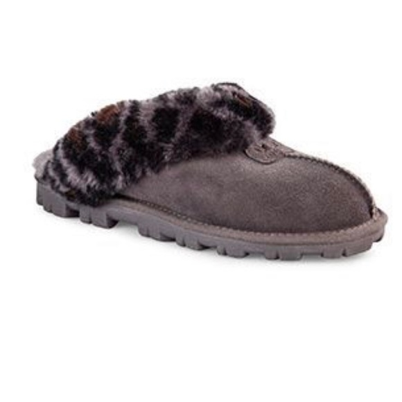aad54b33ad7 UGG Coquette Grey Slippers w Leopard Print Fur 10